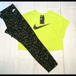 New Nike outfit swoosh leggings T-shirt set XL